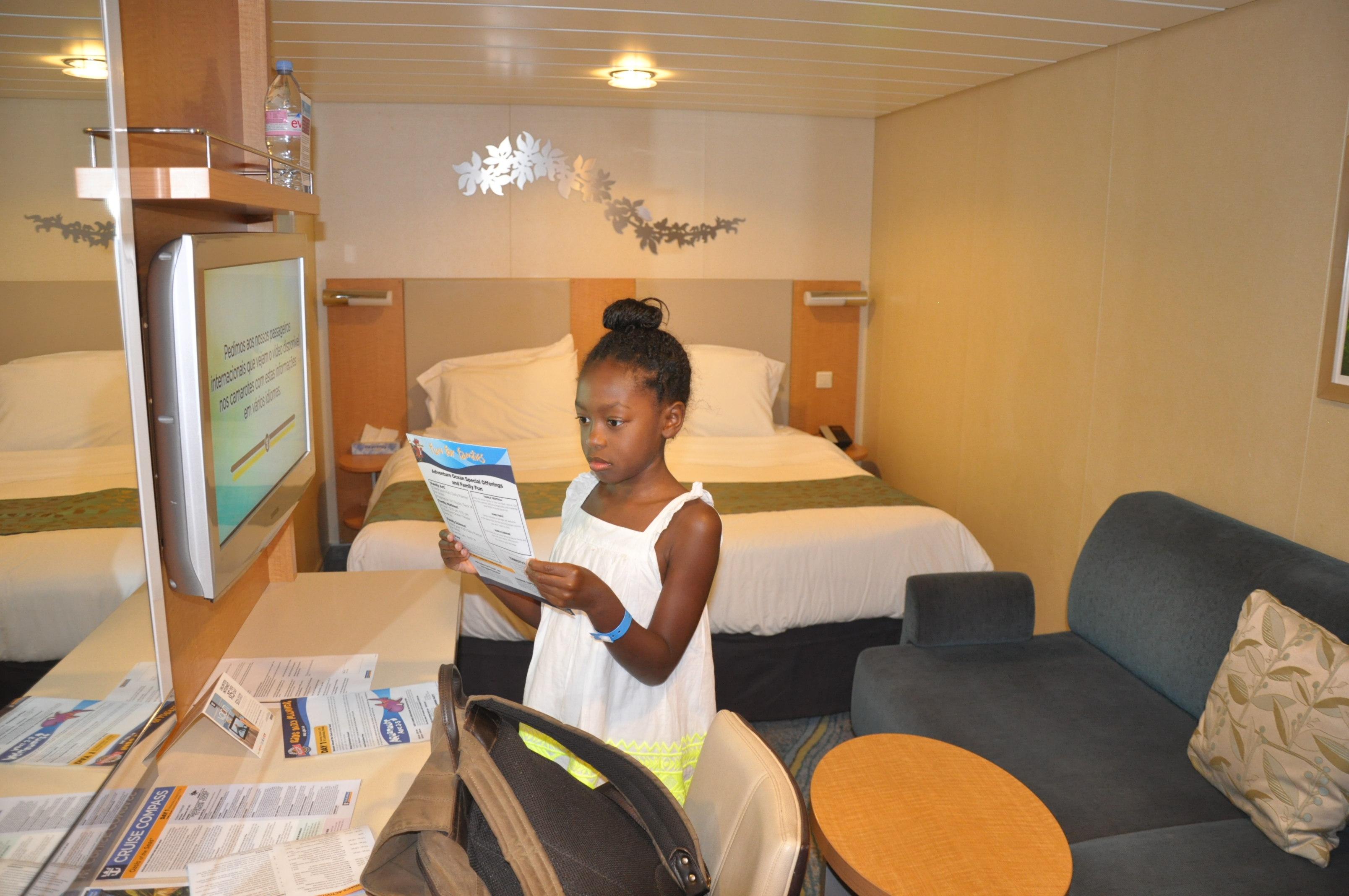 THE VIEW FROM THE DOOR INTO OUR LARGER INSIDE STATEROOM WITH KING SIZE BED AND SOFA BED