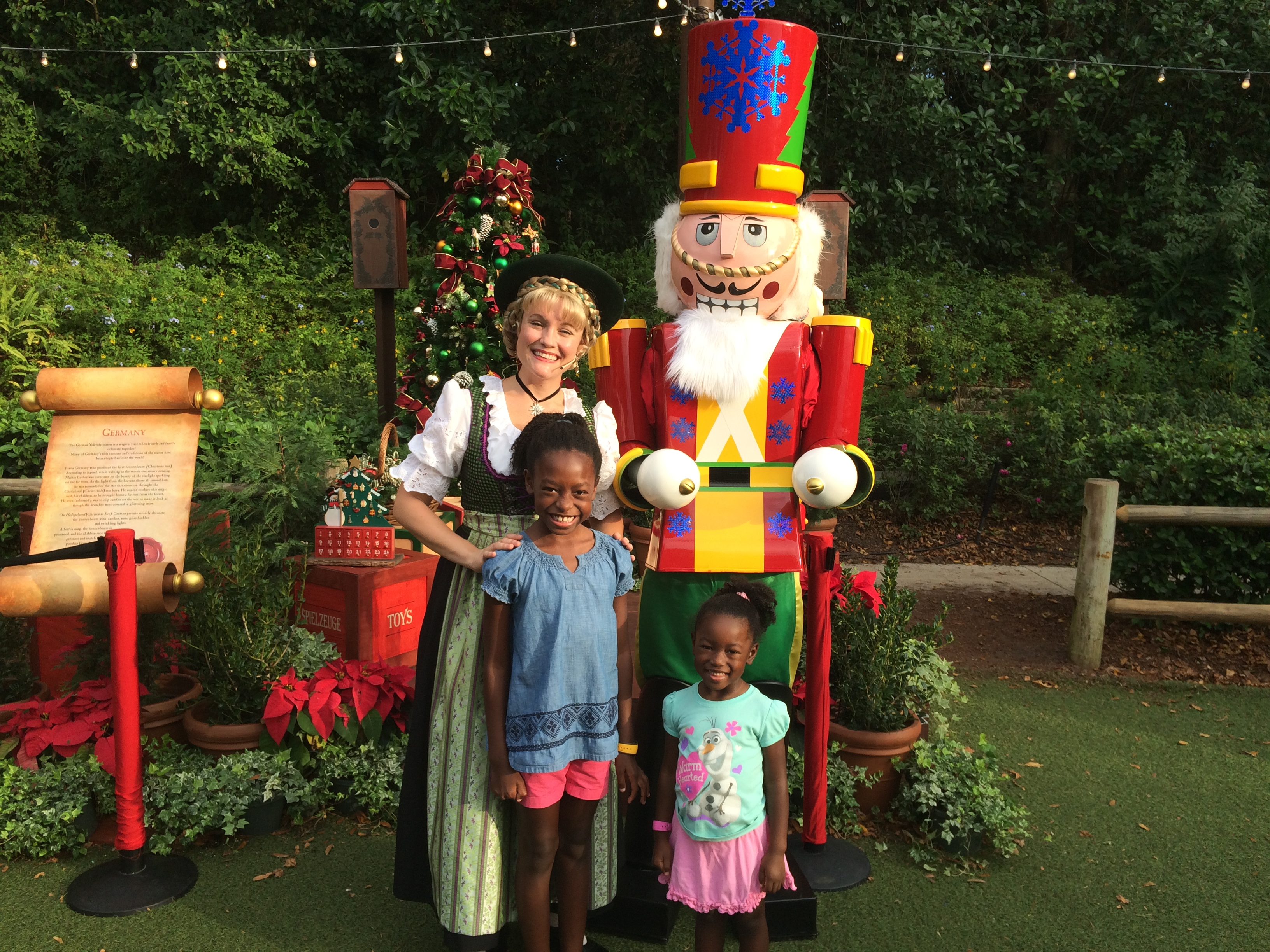 EPCOT's Holidays Around the World offers cultural immersion moments in each of the different international regions of the World Showcase. Here my daughters learned about Christmas customs in Germany