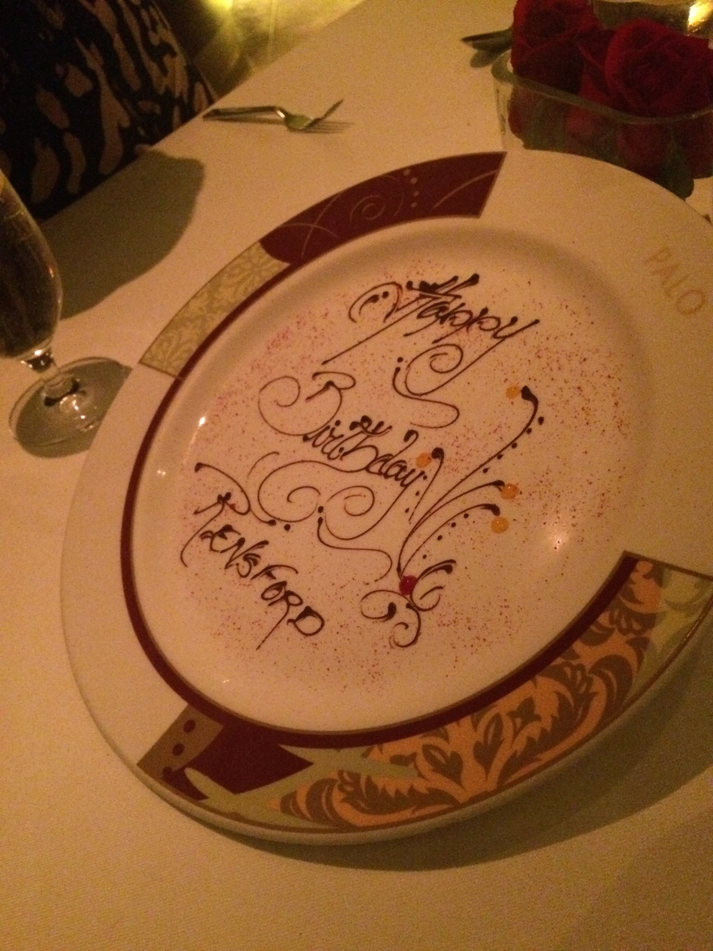 Disney details: Our server overheard our toasts to my father in law and prepared this lovely plate at dessert for him...