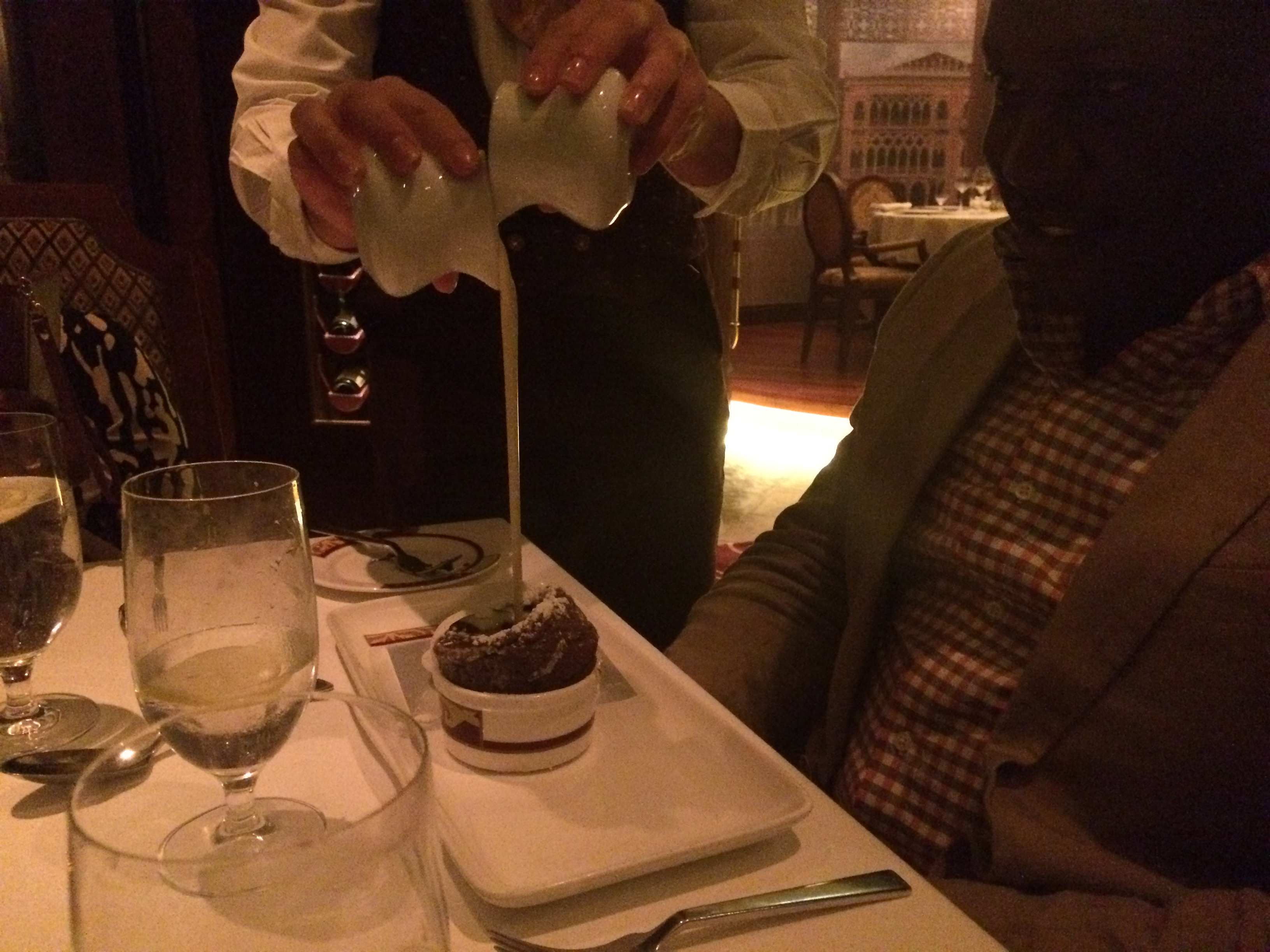 Special table side prep of the chocolate souffle just served the heighten the anticipation even more!