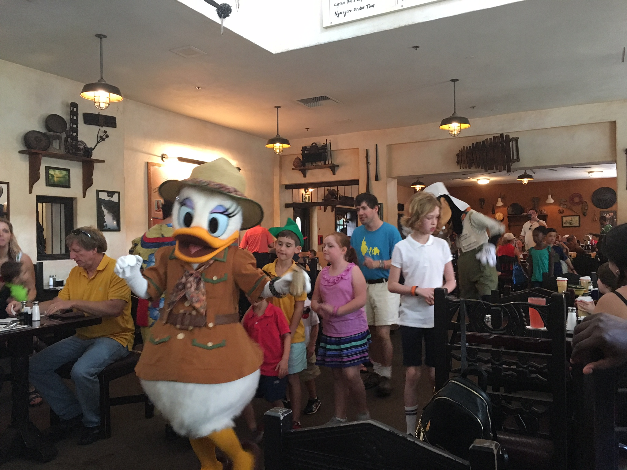 The Character parade happens every 20 minutes or so and all the children in the restaurant are invited to join in...