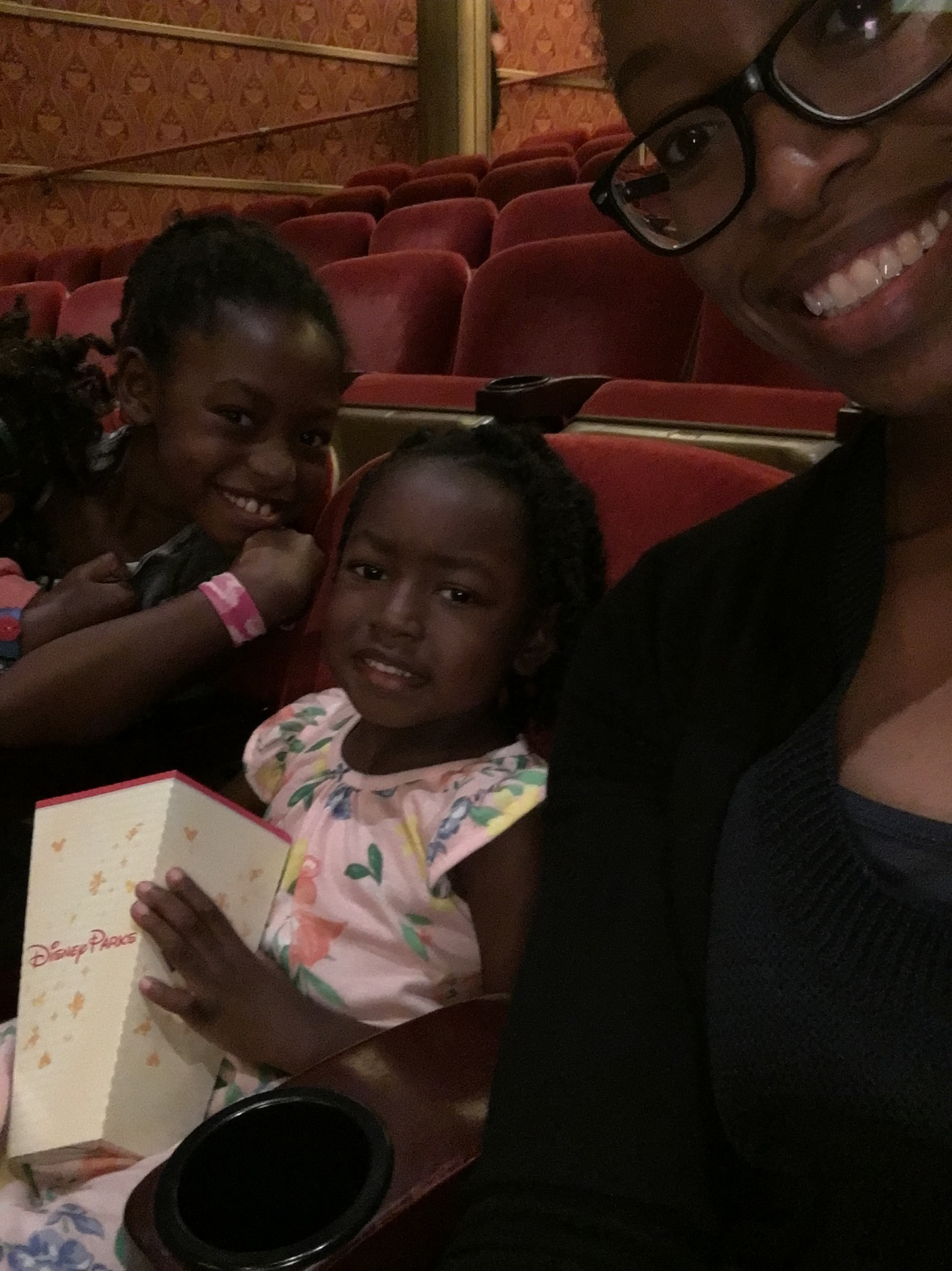 Smiles (and PJs) in the evening show at the Walt Disney Theatre