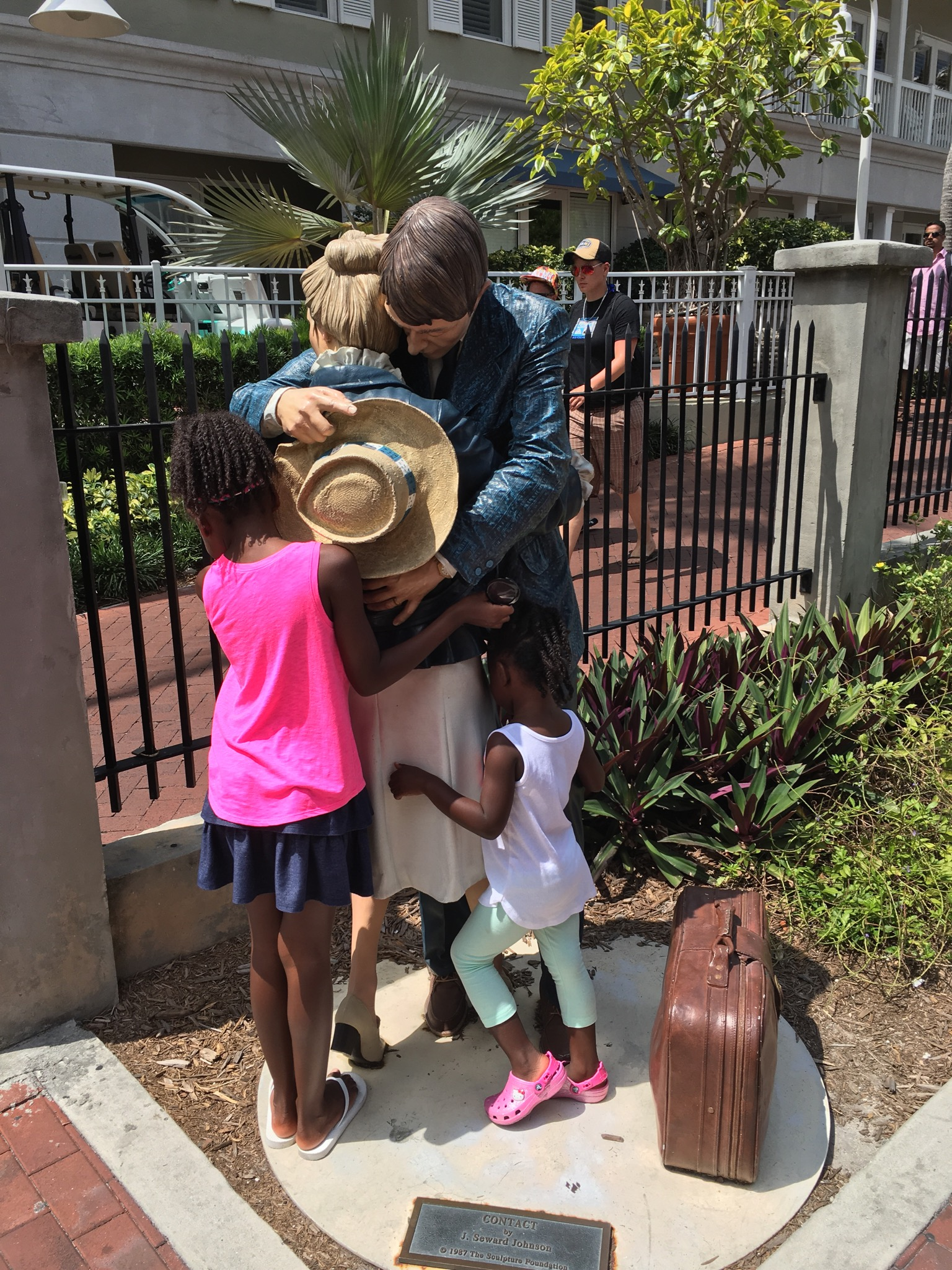 The girls went around hugging and holding conversations with the statues on property. It was fun to watch and entertaining for me as the parent!