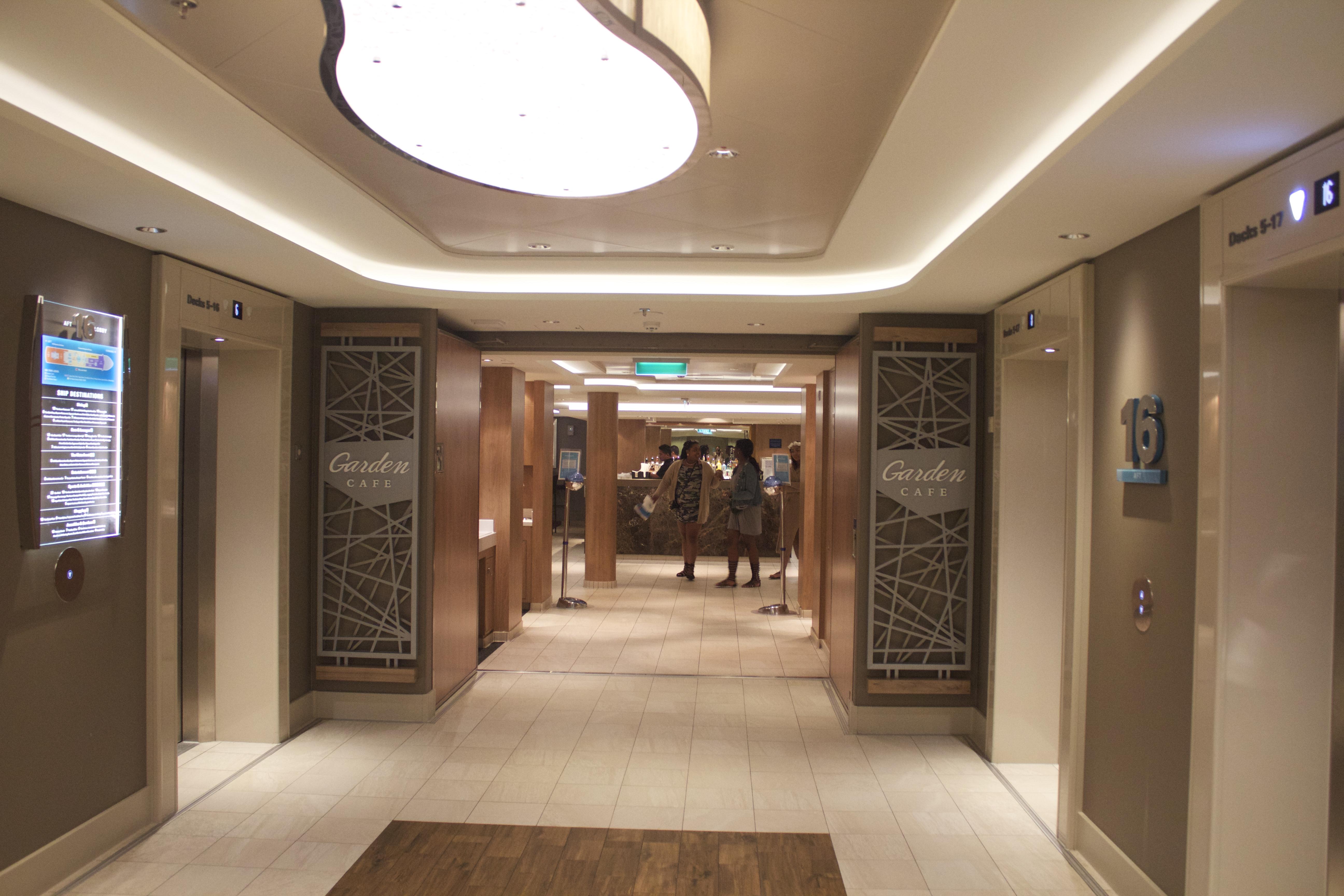 norwegian escape garden cafe-entrance-elevators