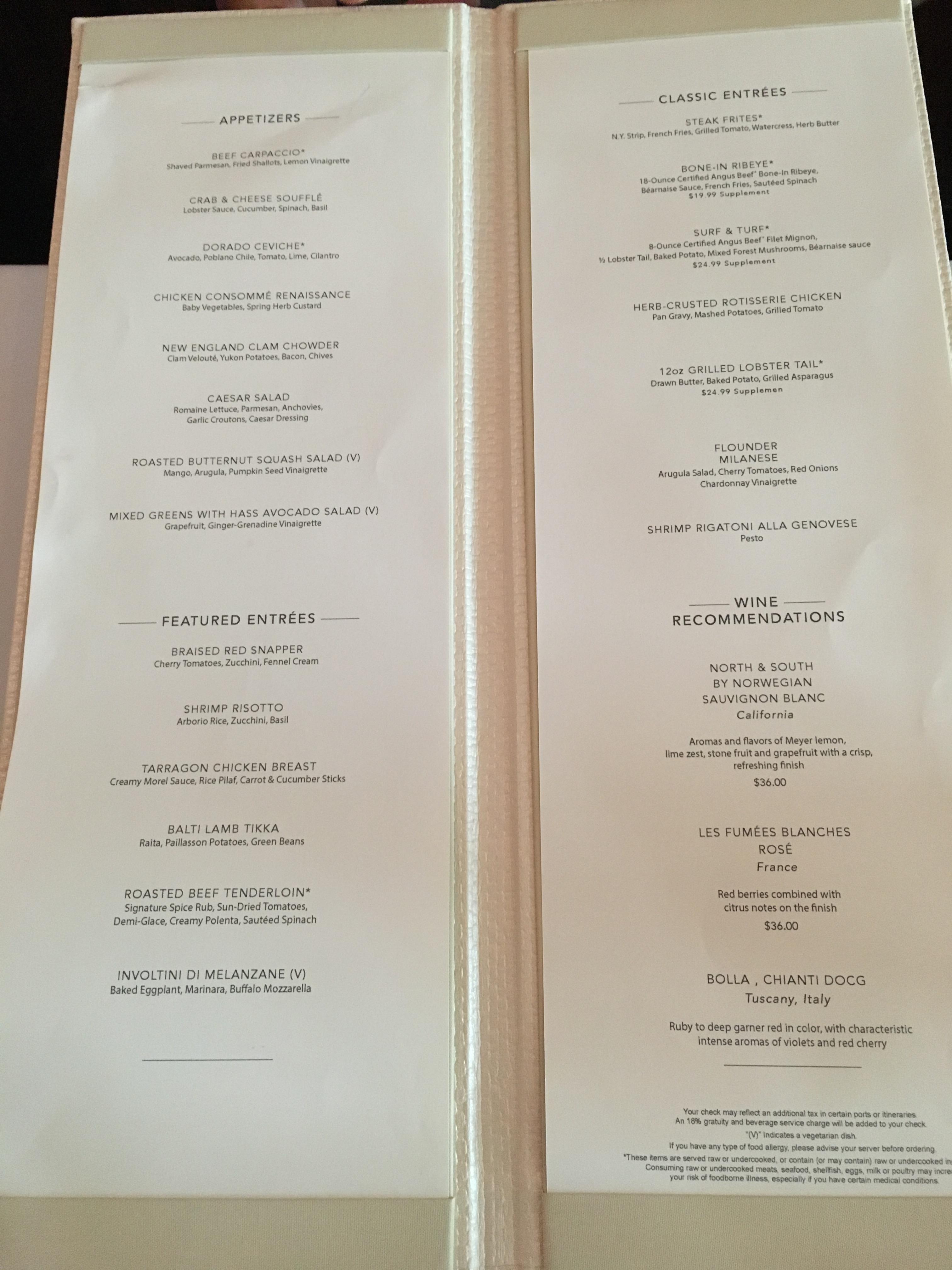 norwegian escape taste-dinner-menu