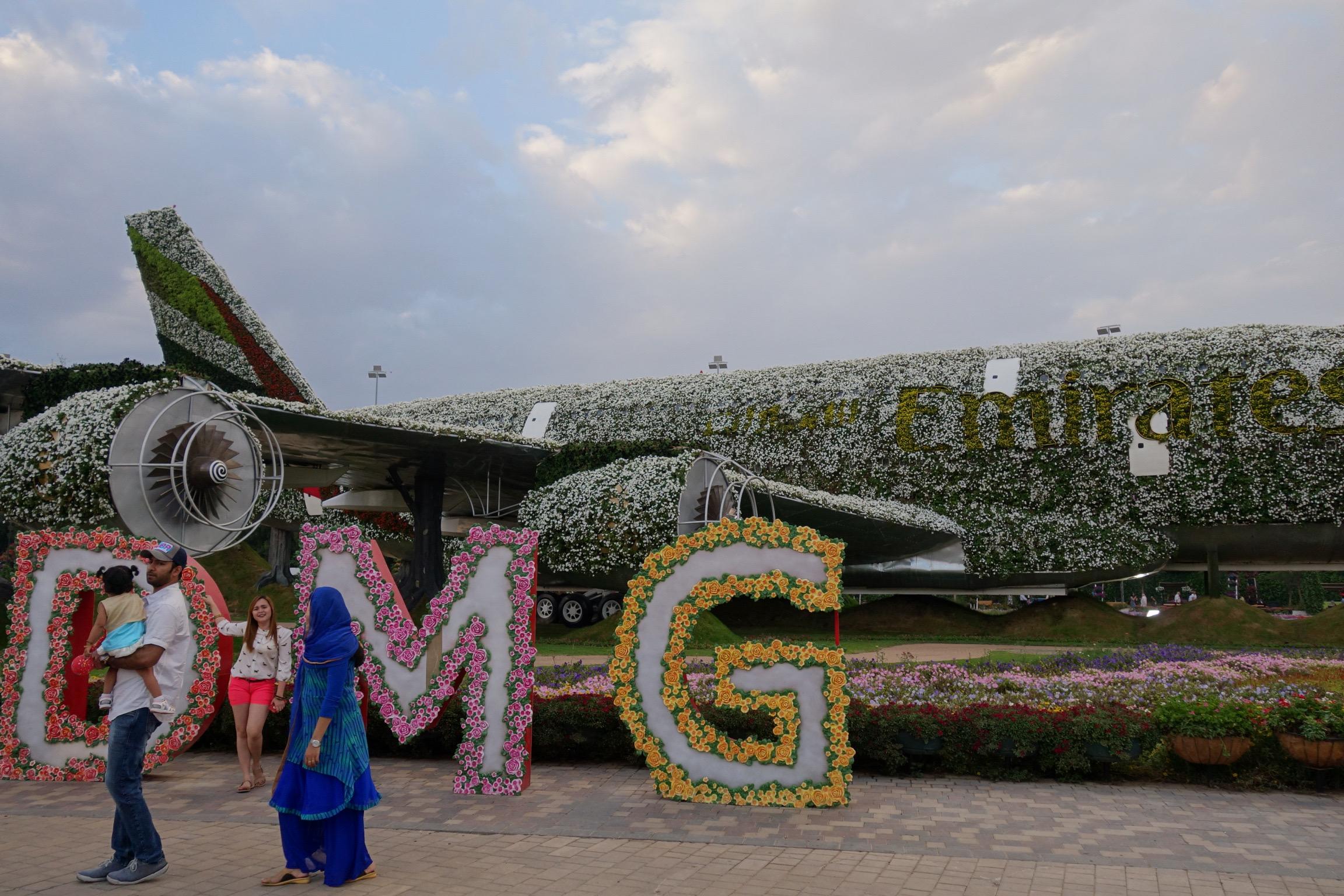 dubai miracle gardens airplane emirates