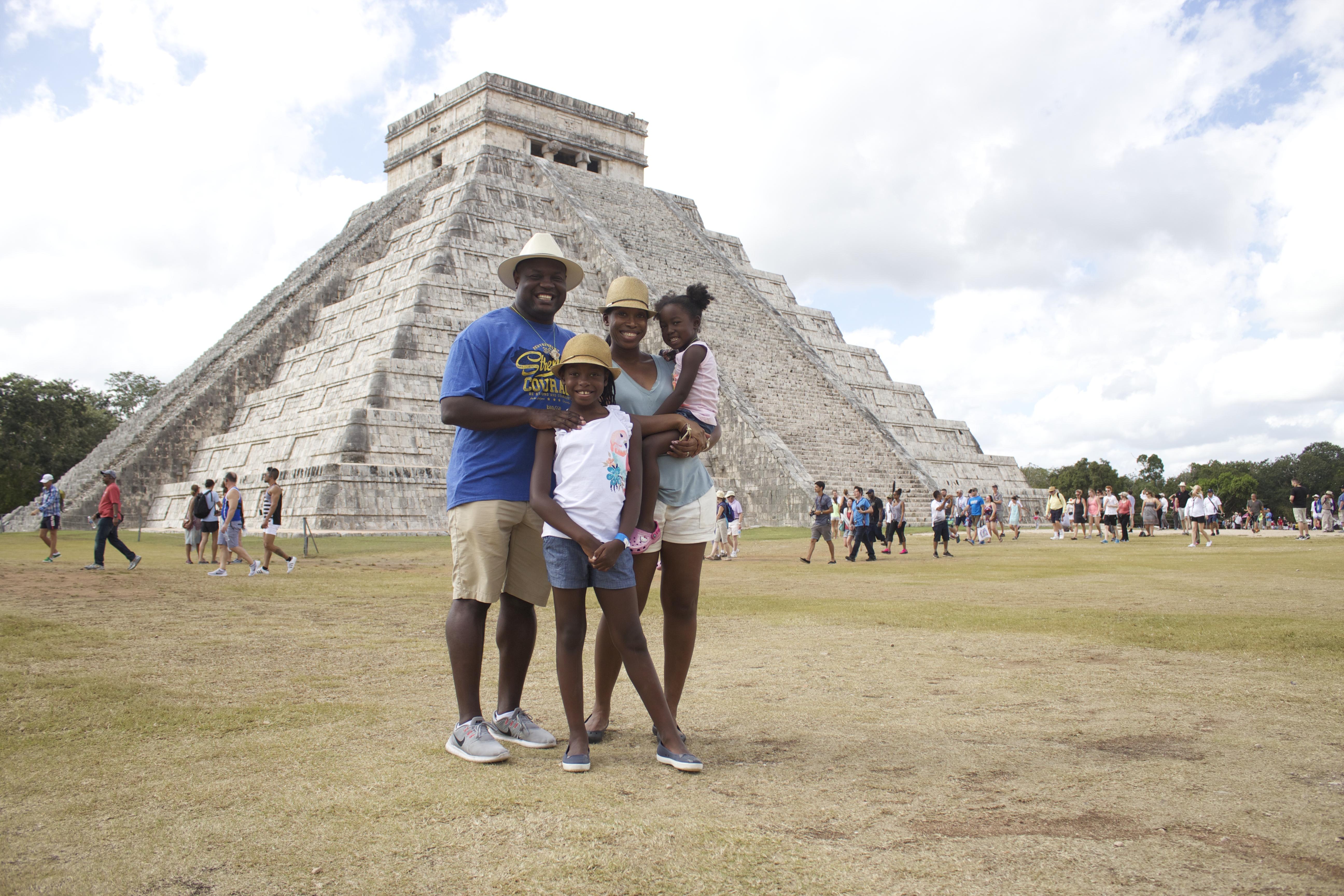 chichen itza mayan ruins mexico family